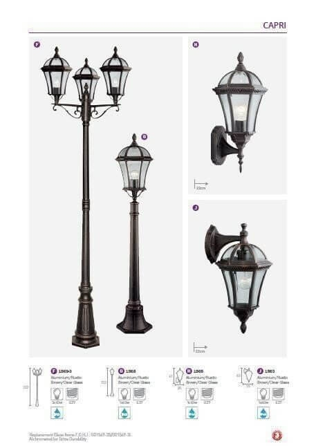 Настінний вуличний світильник Searchlight CAPRI 1563