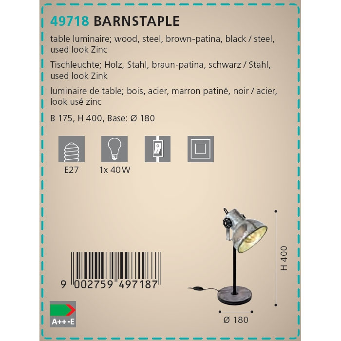 Настільна лампа Eglo BARNSTAPLE 49718
